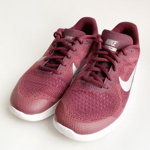 Girls Youth Size 3.5 Burgundy Nike Sneakers